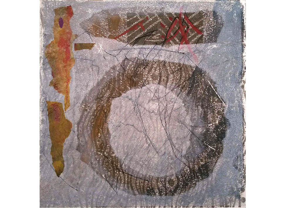 Peace Indeed, monoprint with chin colle by Miki Lovett. In private collection