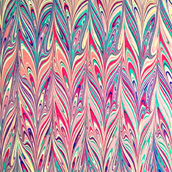 Peacock variation Marbled paper by Miki Lovett